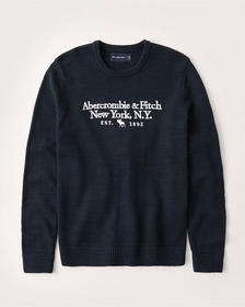 Embroidered Logo Crew Sweater, NAVY BLUE