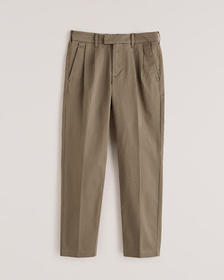 Pleated Sateen Skinny Pants, BROWN