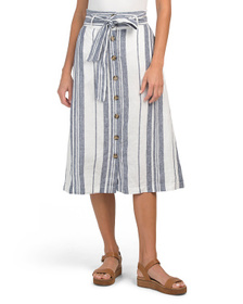 C&C CALIFORNIA Stripe Cropped Pull On Linen Skirt
