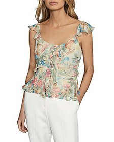 REISS - Lana Floral Print Ruffled Top