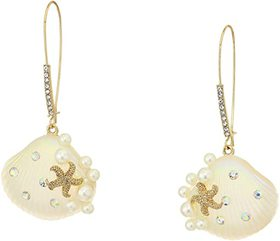 Betsey Johnson Pearl Shell Sheppard Hook Earrings