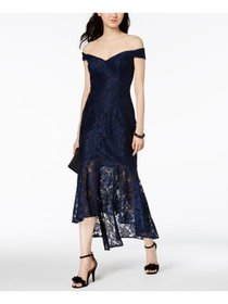 XSCAPE Womens Navy Floral Sleeveless Off Shoulder