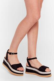 Nasty Gal Black We Stud Get Going Faux Suede Platf