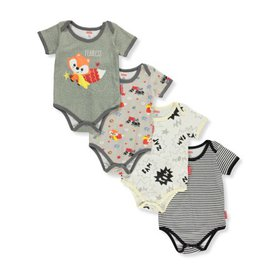 Fisher Price Baby Boys' Fox 4-Pack Bodysuits (Newb