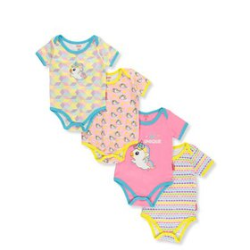 Fisher Price Baby Girls' Unicorns 4-Pack Bodysuits