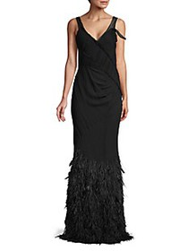 Jason Wu Collection Feather-Hem Silk Chiffon Gown