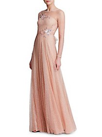 Marchesa Glitter Tulle Gown