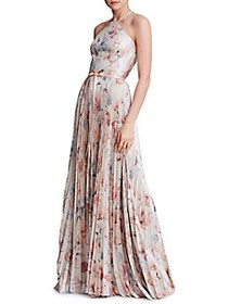 Marchesa Floral Pleated Halter Gown