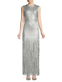 Herve Leger Fringe Bottom Metallic Gown