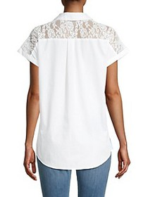Karl Lagerfeld Striped Contrast Lace Top