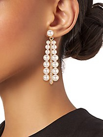 Kenneth Jay Lane Goldtone Faux Pearl & Crystal Dro