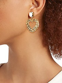 Kenneth Jay Lane Goldtone Textured Heart Drop Earr