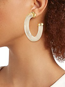 Kenneth Jay Lane Goldtone & Resin C-Hoop Earrings