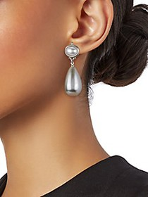 Kenneth Jay Lane Rhodium-Plated Drop Earrings