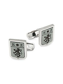 Zegna Lion Logo Shield Sterling Silver & Enamel Cu