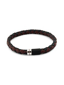 Zegna Sterling Silver & ​Bi-Color Braided Leather