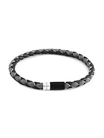 Zegna Sterling Silver & Bi-Color Braided Leather