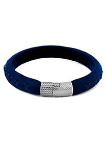 Zegna Sterling Silver & Leather Bracelet