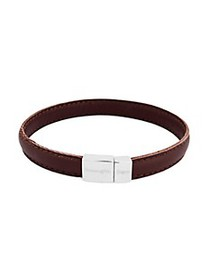 Zegna Sterling Silver & Leather Stitch Bracelet