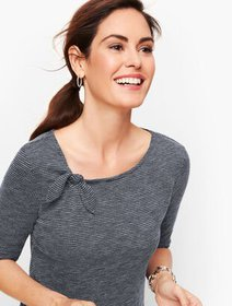Talbots Tie Detail Tee - Bird's Eye