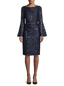 Carmen Marc Valvo Infusion Embroidery Bell-Sleeve