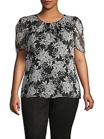 Vince Camuto Plus Floral-Print Puff-Sleeve Top