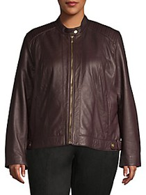 Cole Haan Plus Zip-Front Leather Moto Jacket