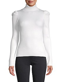 525 America Ribbed Puff-Sleeve Sweater