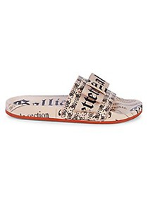 John Galliano Newspaper Print Pool Slide Sandals
