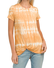 C&C CALIFORNIA Shibori Tie Dye Tunic Tee With Twis