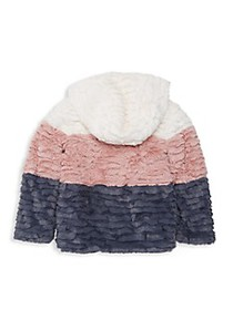 C&C California Little Girl's Colorblock Faux Fur H