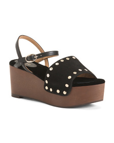 JOIE Galla Wood Bottom Leather Sandals