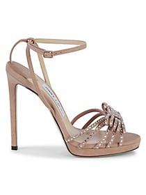 Jimmy Choo Embellished Bow Suede Stiletto Sandals