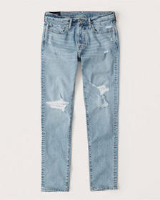 Ripped Athletic Skinny Jeans, LIGHT RIPPED WASH