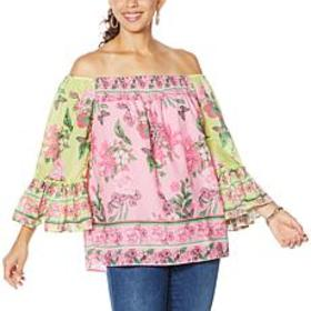 """""""As Is"""" Colleen Lopez Flounce Sleeve Smock-Neck Bl"""