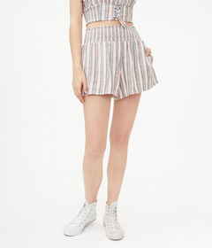 Aeropostale Striped Smocked-Waist Shorts