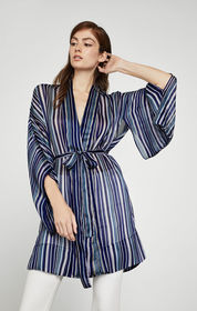 BCBG Light Stripe Wrap Jacket