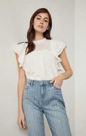 BCBG Cotton Eyelet Ruffle Top