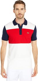 Lacoste Short Sleeve Striped Color-Blocked Polo