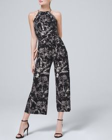 Chain-Detail Floral Knit Cropped Jumpsuit with Rem