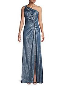 Rene Ruiz Collection ​One-Shoulder Sequined Gown