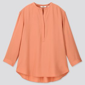 Women Rayon Stand Collar 3/4 Sleeve Blouse, Light