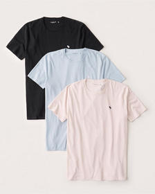 3-Pack Icon Crew Tee, BLACK - LIGHT BLUE - LIGHT P