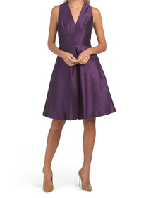 ALFRED SUNG Dupioni Cocktail Dress With Pockets