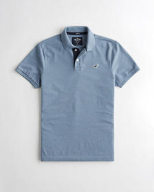 Hollister Stretch Polo, HEATHER BLUE