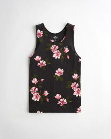 Hollister Floral Icon Tank, BLACK FLORAL
