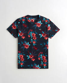 Hollister Must-Have Crewneck T-Shirt, NAVY FLORAL