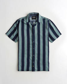 Hollister Hollister Summer Shirt, GREEN STRIPE