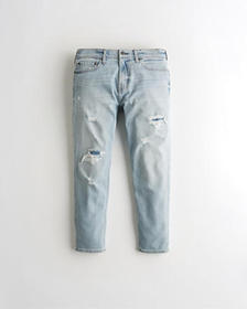 Hollister Crop Taper Jeans, RIPPED AND REPAIRED LI
