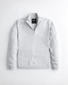 Hollister Lightweight Half-Zip Mockneck Sweater, H